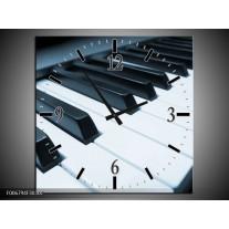 Wandklok Schilderij Muziek, Piano   Blauw, Grijs