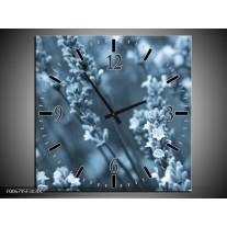 Wandklok Schilderij Bloemen, Lente | Blauw, Grijs