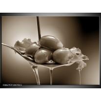 Glas Schilderij Olijven, Keuken | sepia