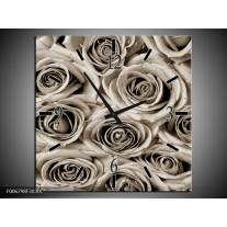 Wandklok Schilderij Bloemen, Roos | sepia