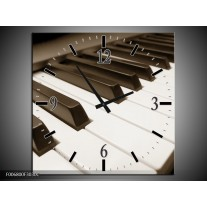 Wandklok Schilderij Muziek, Piano   sepia