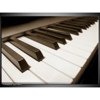 Glas Schilderij Muziek, Piano   sepia
