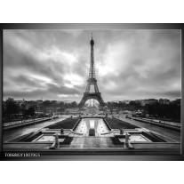 Glas Schilderij Parijs, Eiffeltoren | Zwart, Wit, Grijs