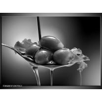 Glas Schilderij Olijven, Keuken | Zwart, Grijs