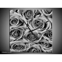 Wandklok Schilderij Bloemen, Roos | Zwart, Grijs