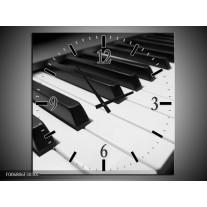 Wandklok Schilderij Muziek, Piano | Zwart, Grijs, Wit