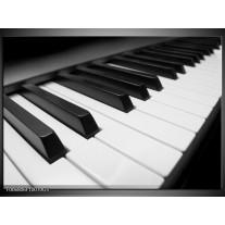 Glas Schilderij Muziek, Piano | Zwart, Grijs, Wit