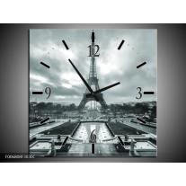 Wandklok Schilderij Parijs, Eiffeltoren | Grijs, Groen