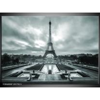 Glas Schilderij Parijs, Eiffeltoren | Grijs, Groen