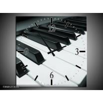 Wandklok Schilderij Muziek, Piano | Grijs, Groen, Zwart