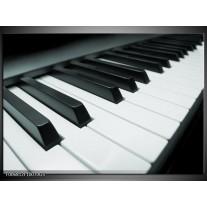 Glas Schilderij Muziek, Piano | Grijs, Groen, Zwart