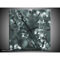 Wandklok Schilderij Bloemen, Lente | Grijs, Groen