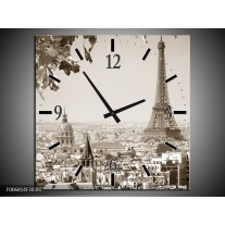 Wandklok Schilderij Parijs, Steden | Sepia