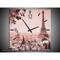Wandklok Schilderij Parijs, Steden | Bruin, Rood