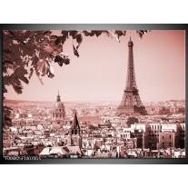 Glas Schilderij Parijs, Steden | Bruin, Rood