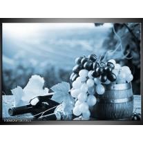 Glas Schilderij Druiven, Keuken | Blauw, Grijs