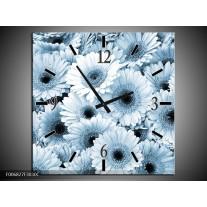 Wandklok Schilderij Gerbera, Bloemen   Blauw, Grijs