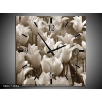 Wandklok Schilderij Tulpen, Bloemen | Sepia