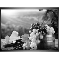 Glas Schilderij Druiven, Keuken | Zwart, Grijs