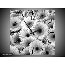 Wandklok Schilderij Gerbera, Bloemen | Zwart, Grijs