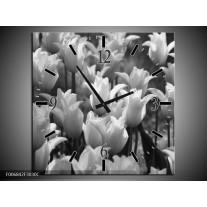 Wandklok Schilderij Tulpen, Bloemen   Zwart, Grijs