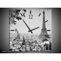 Wandklok Schilderij Parijs, Steden | Zwart, Grijs