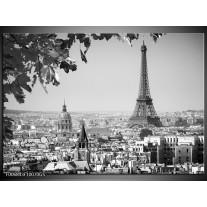 Glas Schilderij Parijs, Steden | Zwart, Grijs