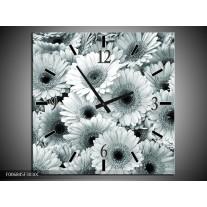 Wandklok Schilderij Gerbera, Bloemen | Grijs, Groen