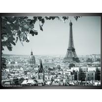 Glas Schilderij Parijs, Steden   Grijs, Groen