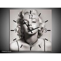 Wandklok Schilderij Marilyn Monroe | Grijs, Sepia