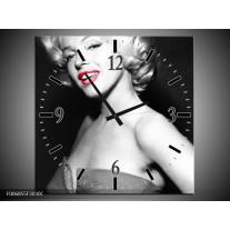 Wandklok Schilderij Marilyn Monroe | Zwart, Grijs, Rood