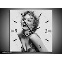 Wandklok Schilderij Marilyn Monroe | Grijs, Wit