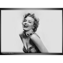 Glas Schilderij Marilyn Monroe | Grijs, Wit