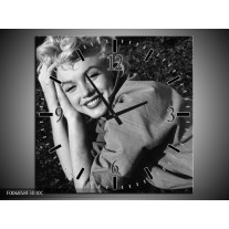 Wandklok Schilderij Marilyn Monroe | Zwart, Grijs