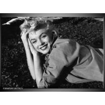 Glas Schilderij Marilyn Monroe | Zwart, Grijs