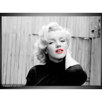 Glas Schilderij Marilyn Monroe | Zwart, Wit, Rood