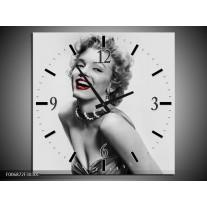 Wandklok Schilderij Marilyn Monroe | Grijs, Wit, Rood