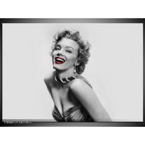 Glas Schilderij Marilyn Monroe | Grijs, Wit, Rood