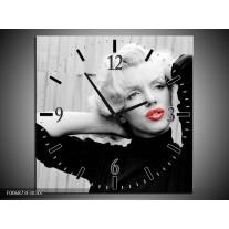 Wandklok Schilderij Marilyn Monroe   Zwart, Wit, Rood