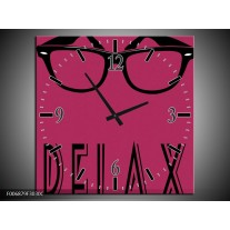 Wandklok Schilderij Tekst | Roze, Zwart