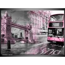 Canvas Schilderij Engeland, London | Paars, Roze, Grijs