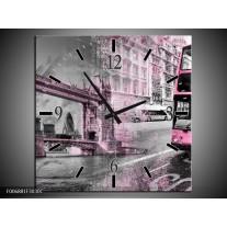 Wandklok Schilderij England, London | Paars, Roze, Grijs