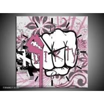 Wandklok Schilderij Popart   Paars, Roze, Grijs
