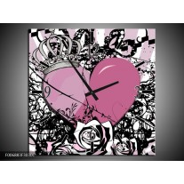 Wandklok Schilderij Popart, Hart | Paars, Roze, Grijs