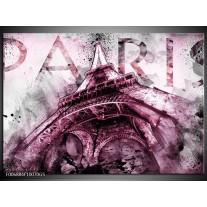Glas Schilderij Parijs, Eiffeltoren | Paars, Roze, Grijs