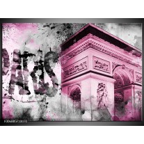 Canvas Schilderij Parijs, Steden | Paars, Roze, Grijs