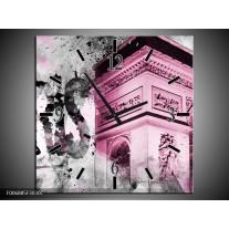 Wandklok Schilderij Parijs, Steden | Paars, Roze, Grijs