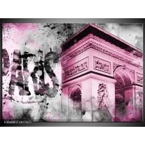 Glas Schilderij Parijs, Steden | Paars, Roze, Grijs