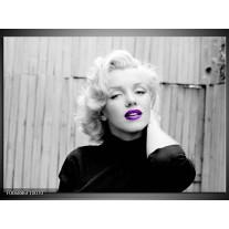 Canvas Schilderij Marilyn Monroe | Grijs, Zwart, Paars