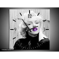 Wandklok Schilderij Marilyn Monroe | Grijs, Zwart Paars